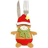 Lenfesh Accessoire de dessin animé de Noël Couvert de vaisselle de bonhomme de neige Couvert de vaisselle de fourchette de Noël (A)