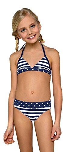 Madchen Zwei Stuck Schwimmen Kostum, Gestreift Und Getupft Neckholder Bikini (Kostüme Mädchen Alter Schwimmen 13)