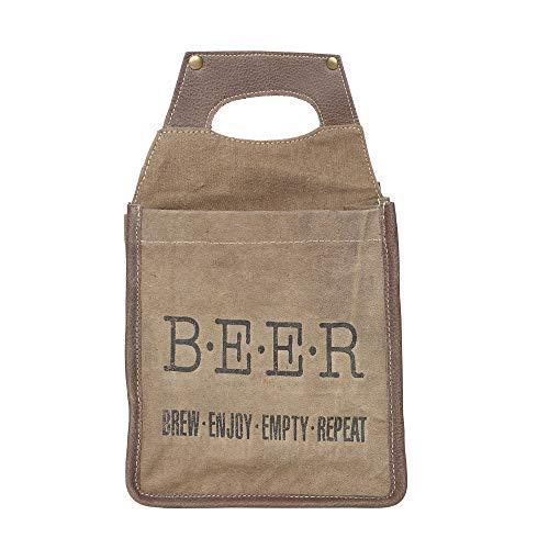 Myra Bag Brew Enjoy Repeat Bierbeutel, recyceltes Segeltuch und Leder, 6 Stück -