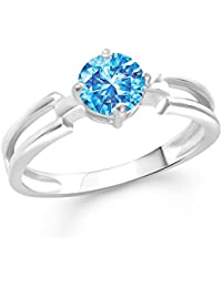 VK Jewels Stylish Blue Solitaire Rhodium Plated Alloy CZ American Diamond Finger Ring For Women & Girls [VKFR2868R]
