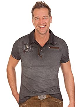 Trachten Herren Poloshirt - DARIO - anthrazit