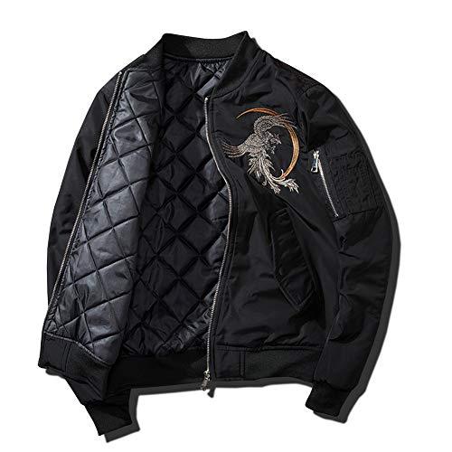 Herren Motorradjacke Art Und Weise Beiläufige Pilot Jacket Men Baseball Uniform-Jacken-Mantel,Schwarz,M
