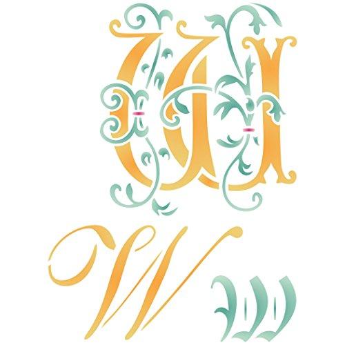 Buchstaben-Schablone (W) - wiederverwendbare große dekorative Initiale Monogramm Buchstaben-Wandschablone - Verwendung auf Papierprojekten, Scrapbooks, Wänden, Böden, Stoff, Möbel, Glas, Holz usw. - Scrapbook-stoff