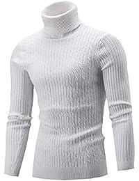 Rera Homme Pull Tricot Col Haut Roulé Montant Rayures Épaissir Sweater  Couleur Unie Pullover Top Automne Hiver… 4fd23044145a