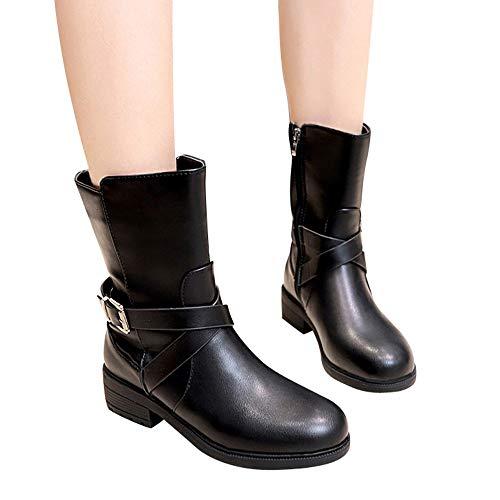OSYARD Damen Mittlere Stiefel Flache Halbschaft Booties,Stiefeletten Biker Boots Zipper Frauen Platz Ferse Schnalle Shoes Runde Kappe Schuhe Lederstiefel Boots