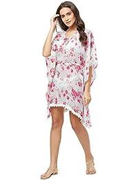 SOURBH Kaftan Flower Printed Bikini Body Coverups Boho Girls Top Beach Wear for Women Western (SK422, Free Size)