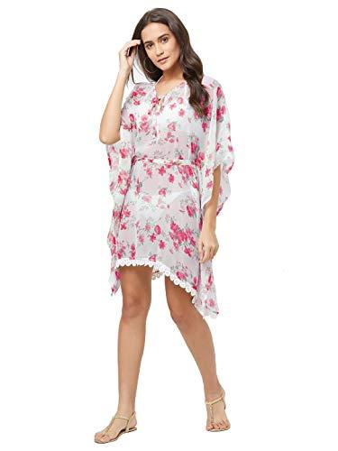 SOURBH Kaftan Beach Wear Dress Flower Printed Bikini Boho Body Coverups Girls Swim Suit for Women Western (SK424_Red,White, One Size)