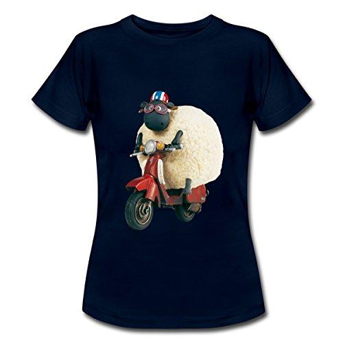 Spreadshirt Shaun Das Schaf Shirley Auf Roller Frauen T-Shirt, L, Navy