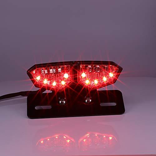 Fuoco Stop di moto LED luce posteriore con fumo di lampeggiante integrato di immatricolazione per le moto, SUV, ATV, veicoli elettrici (#3)