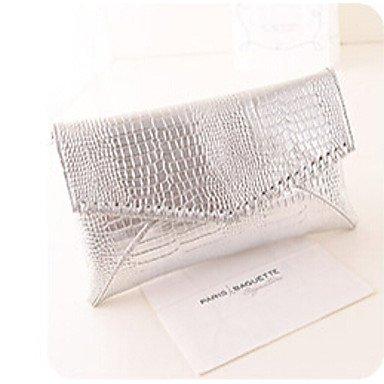KYS Damen PU Unterarmtaschen / Abendtasche Silber / Schwarz Silver
