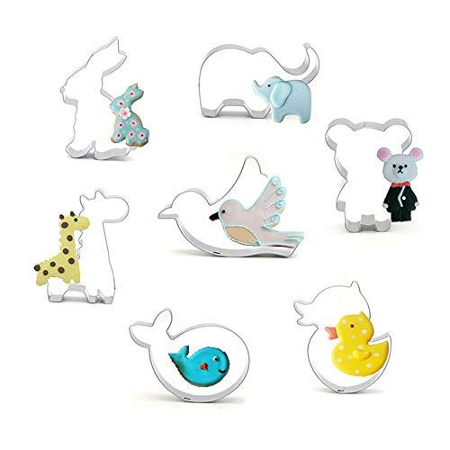 Zhuotop Keksausstechformen-Set mit niedlichen Tieren, Edelstahl, Schokolade, Süßigkeiten, Kuchen, Cupcakes, Dekorationsformen