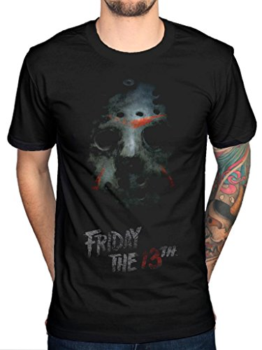 Offizielle Freitag der 13. Maske T-Shirt Horror Film Film Jason TV Serie Gr. Large, Schwarz
