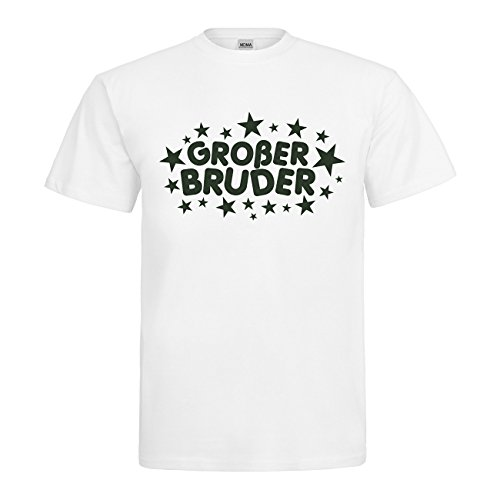 Großer Bruder T-Shirt N14-mdma-t00653-360 Textil white / Motiv moosgruen Gr. XXL (Bruder White T-shirt)