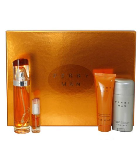 Perry by Perry Ellis for Men - 4 Pc Gift Set 3.4oz EDT Spray, 3oz Soothing After Shave Gel, 2.75oz Deodorant Stick, 7.5ml EDT Spray by Perry Ellis -