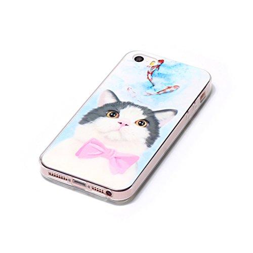 iPhone 5 5G 5S SE Coque, Voguecase TPU avec Absorption de Choc, Etui Silicone Souple, Légère / Ajustement Parfait Coque Shell Housse Cover pour Apple iPhone 5 5G 5S SE (Smile 07)+ Gratuit stylet l'écr chatons mignons 02