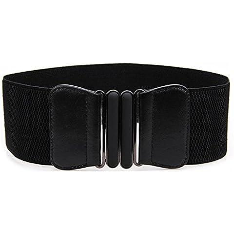 HuntGold - Cinturón elegante para mujer, de cuero, con hebilla de metal, elástico, color negro