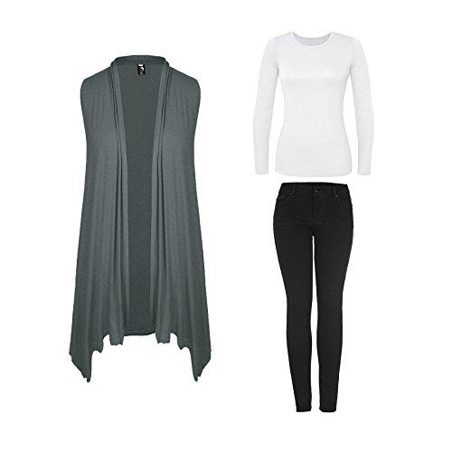 Beaii Damen Asymmetrisch Ärmellos Lang Strickjacke Cardigan Wasserfall Jacke Weste für Sommer und Herbst Grau
