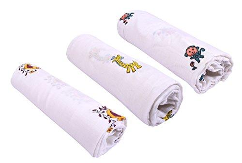 Mom's Home Organic Cotton Baby Muslin Cloth Swaddle - Pack of 3 - (0-12 Months) 92x92 cm - Birds Giraffe Moneky