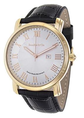 Boudier & Cie BC15SA3 - Reloj de Cuarzo Analogico con movimiento Suizo para hombre, Esfera blanca, Carcasa dorada, Correa de Cuero negro de Boudier & Cie