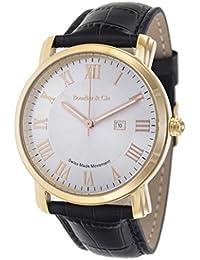 Boudier & Cie BC15SA3 - Reloj de Cuarzo Analogico con movimiento Suizo para hombre, Esfera blanca, Carcasa dorada, Correa de Cuero negro