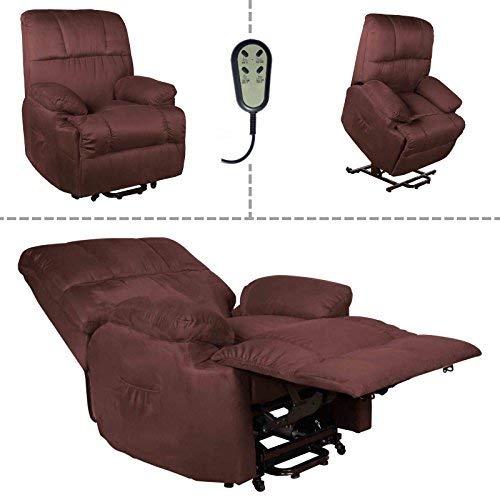 Fernsehsessel mit Aufstehhilfe elektrischer Relaxsessel 2 Motoren Mikrofaser braun