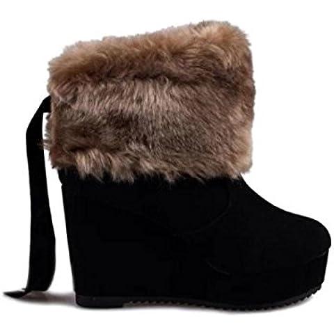 SHIXR Cu?as de mujer botas piel botas altas plataforma botas baja del cilindro pata conejo que Martin botas , black , 35