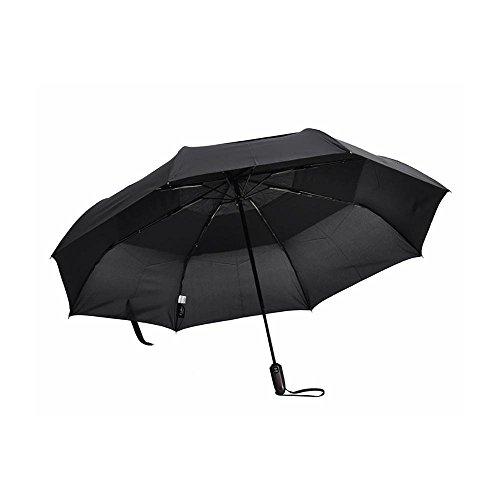 IWMH Grand Parapluie Automatique Solide Parapluie De Golf A Double Couches Résistant Au Vent Parapluie Pliable De Trois Plis Parapluie Pliant UV Protection Parasol Anti-vent 120CM Classique Noir (Noir, 120CM)
