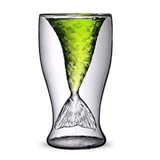 Akooya Mermaid cup fashion creative fruit juice drink ice cream double transparent glass red wine whisky glass