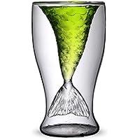 akooya Mermaid tazza Fashion Creative succo di frutta bevande gelato doppio vetro trasparente vino rosso Whisky Vetro