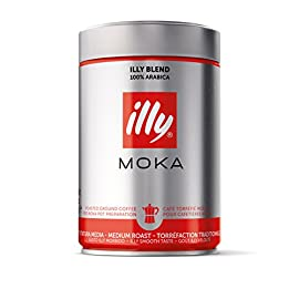illy Classico Medium Roast Ground Coffee for Moka Pot, 250g