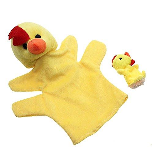 VANKER marioneta del dedo de la felpa de mano Modelo de los juguetes 2 piezas (1 grande + 1 pequeña)--pollo