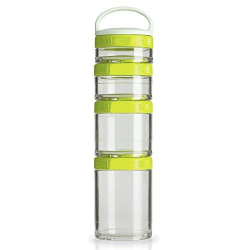 lennonsi 4-teiliger Snackbehälter mit Drehverschluss Stapelbare Vorratsgläser Spender für Milch,...