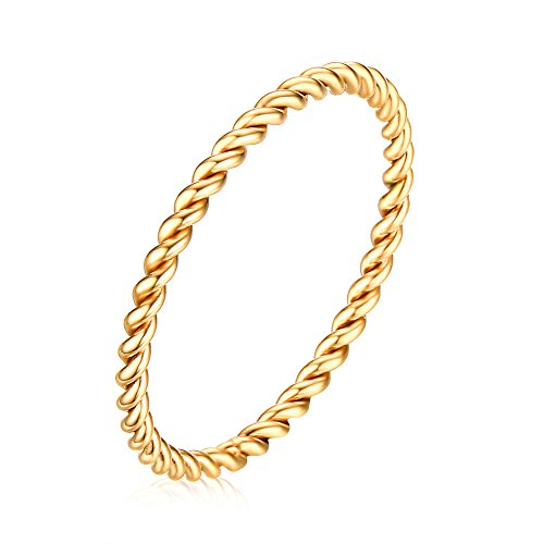 PAMTIER Frauen Edelstahl 1.5MM Dünnes Seil Hochzeit Band Ring Gold Größe 49 (15.6)