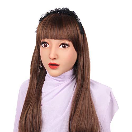 Kostüm Queen Besten Drag - MSFLY Transvestite Schönheit Weiche Silikon Realistische Weibliche Maske Handgemachtes Gesicht für Crossdresser Transgender Cosplay Drag Queen Halloween Kostüme Maskerade-6,Fairskinned