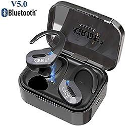 Écouteurs Bluetooth 5.0 Oreillette Bluetooth Sport sans Fil 35 Heures Playtime Hi-FI Stéréo IPX5 Etanche Étui de Charge Micro Intégré Écouteur sans Fil pour iPhone iPad Samsung Tablette