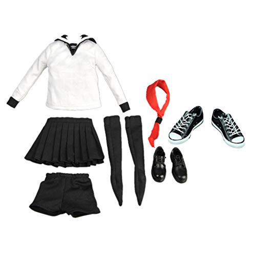 Homyl 1:6 Frau Figur Kleidung Mädchen Sailor Schuluniform School Girl Kleidungset mit Weibliche Aktionfigur Schuhe Schnüren Segeltuchschuhe Puppenzubehör
