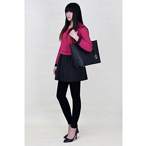 LeahWard® Übermaß Schultertaschen Zum DamenKunstleder Damen Käufer Handtaschen A4 297 Schwarz
