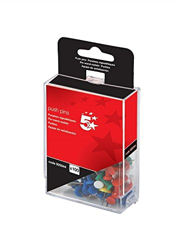 5-Star-Push-Pins-Assorted-Opaque-Pack-of-100