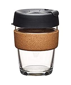 KeepCup 12oz Reusable Coffee Cup. Toughened Glass & Cork Band. 12-Ounce/Medium, Espresso (Assorted Color)