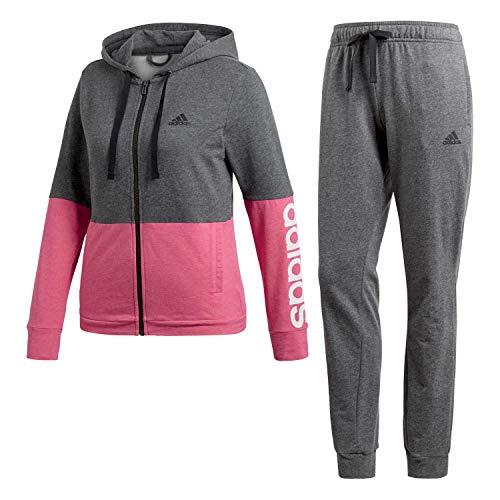 adidas Damen Trainingsanzug Marker Hoody TS Dark Grey Heather/real Magenta Mel/White XXL