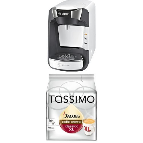Bosch TAS3204 Tassimo Suny Multi-Getränke-Automat 1300 W mit Tassimo Jacobs Caffè Crema classico XL, 5er Pack