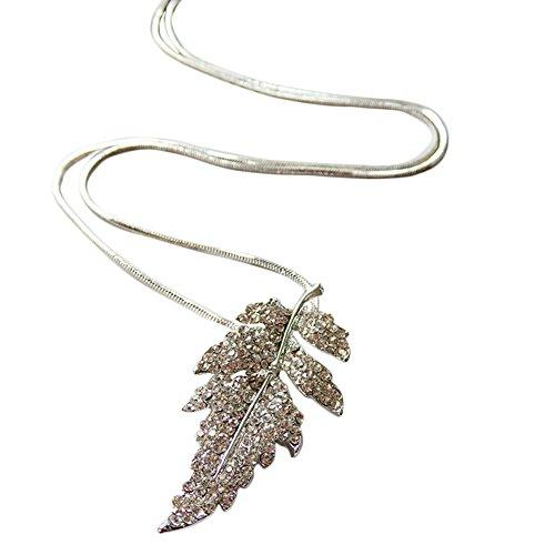 hosaire Frauen Halskette Legierung vergoldet Diamant Federn Anhänger zum Aufhängen Panzerkette Lange Kette Kostüm Schmuck Halskette (Supply Kostüm Chain)
