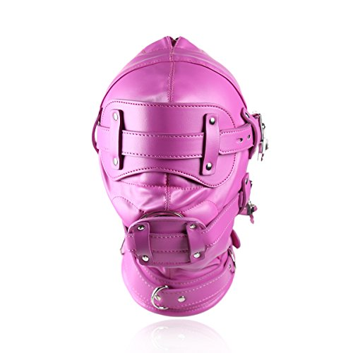 Raycity Hot Pink Leder Kostüm Gimp Maske Hood Style (Gimp Maske Kostüm)
