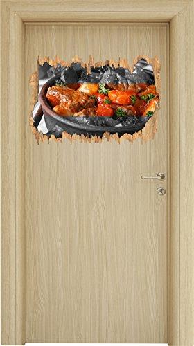 Schmackhafter Bauerntopf schwarz/weiß Holzdurchbruch im 3D-Look , Wand- oder Türaufkleber Format: 62x42cm, Wandsticker, Wandtattoo, Wanddekoration