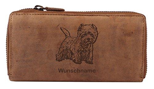Greenburry Damen-Geldbörse PERSONALISIERT mit Hunde-Motiv West Highland White Terrier, Leder Damen-Geldbeutel