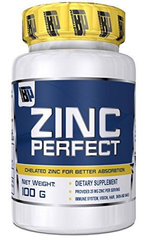 Bodypharm - Zinc Perfect , Zink in Tabletten , hochdosiert , eine viertel Zinktablette reicht pro Tag .