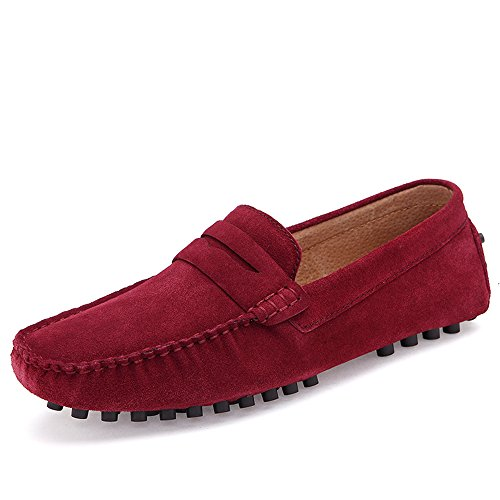 Herren Mode Casual Leder Faulenzer Schuhe Rotwein