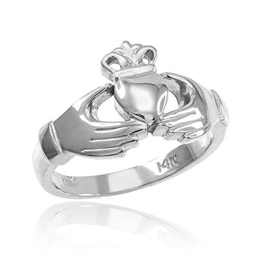 Gold Irish Claddagh Ring (Kleine Schätze - Damen Ring / Verlobungsring / partnerring 925 Sterling Silber klassisch Claddagh Ring)