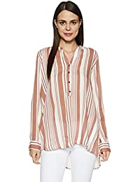 Cherokee Women's Slim Fit Rayon Shirt (272692821_Ecru_L_FS)