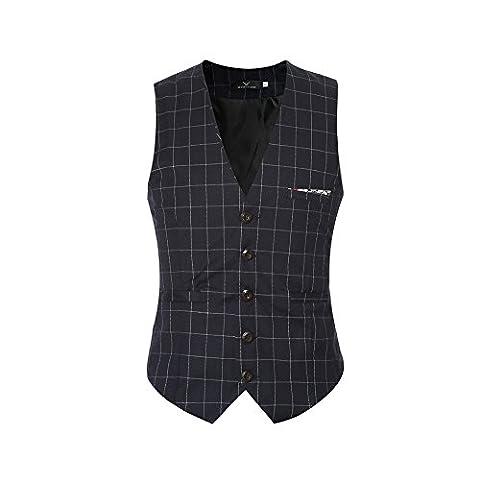 Costume Homme Slim Laine - Gilet Homme Costume à Carreaux Slim Sans
